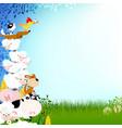 very cute farm animals frame vector image