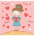 Vintage Valentines day card of girl with heart vector image