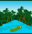 wild crocodile in river in the jungle vector image vector image