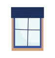 window with blue frame interior decoration vector image