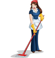 Woman Cleaning With Mop For Passover vector image vector image