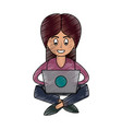 woman in laptop vector image