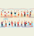 young happy people holding placards with heart vector image vector image