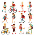 travel happy people hiking outdoor actives vector image