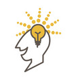 man head profile with lighted lamp as symbol of vector image