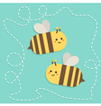 Bee with Dotted Line Path Cartoon vector image