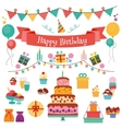 Happy Birthday Flat Design Icons Set vector image