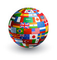 3d world flag globe vector image vector image