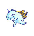 adorable cartoon unicorn in blue color vector image vector image