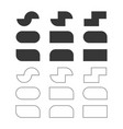 black solid and line empty rectangle shapes set vector image vector image
