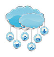 blue cloud data services apps vector image vector image