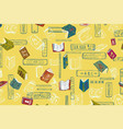 books and reading colorful yellow background vector image vector image