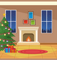 burning fireplace with christmas tree vector image