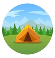 Cartoon tent in a landscape of mountains icon vector image