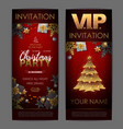 christmas poster with golden christmas tree vector image