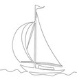 continuous line drawing of sailing boat vector image