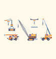 cranes collection industrial loading machines for vector image