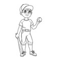 cute boy in baseball suit with ball and bat vector image vector image