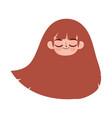 cute face girl close eyes long hair cartoon vector image vector image