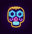day of the dead skull neon sign vector image