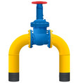 gas pipeline yellow pipe and large gas faucet vector image