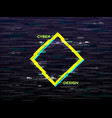 glitch concept yellow and blue rhombus retro vhs vector image
