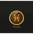 Golden Pisces sign vector image vector image