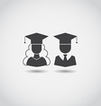 Graduation Man and Woman Icons vector image