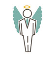 graphic man in costume and with angel wings vector image vector image