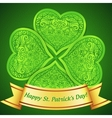 Green plastic ornate clover with golden ribbon vector image vector image