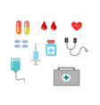 group of medicine health tool on white background vector image