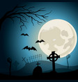 halloween background graveyard with crosses and vector image