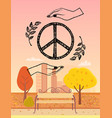 hippie logo protected by hands vector image vector image