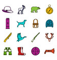 hunting icons doodle set vector image vector image