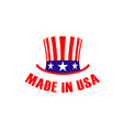 made in usa label with hat emblem or sign vector image