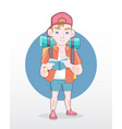 male tourist with backpack reading guidebook vector image vector image