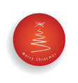 Merry Christmas tree and label in the red circle vector image vector image