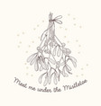 mistletoe sketch greeting card vector image vector image