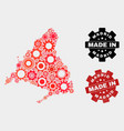 mosaic madrid province map cog elements and vector image vector image