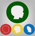 people head sign 4 white styles of icon vector image vector image