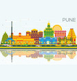 pune skyline with color buildings blue sky and vector image vector image