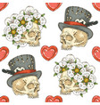 seamless pattern with skulsl and hearts vector image vector image