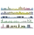 seamless townscape set vector image vector image