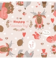 seamless valentines pattern with fun animals vector image vector image