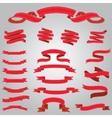 set flat red ribbons vector image
