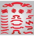 set of flat red ribbons vector image