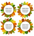 set of four card with yellow leaves vector image vector image