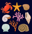 set of marine elements red crab starfish vector image