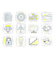 set of modern linear business icons signs for the vector image vector image