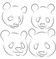 set of stylized pandas faces hand drawn linear vector image